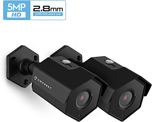 2-Pack Amcrest UltraHD 5MP Outdoor POE Camera, Bullet IP Security Camera, Outdoor IP67 Waterproof, 104 Viewing Angle, MicroSD Recording, 98ft Night Vision, 5-Megapixel, 2PACK-IP5M-1173EB Black