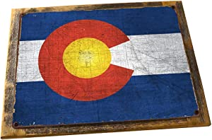 HBA Framed Colorado State Flag Metal Sign, Americana, Rustic Décor