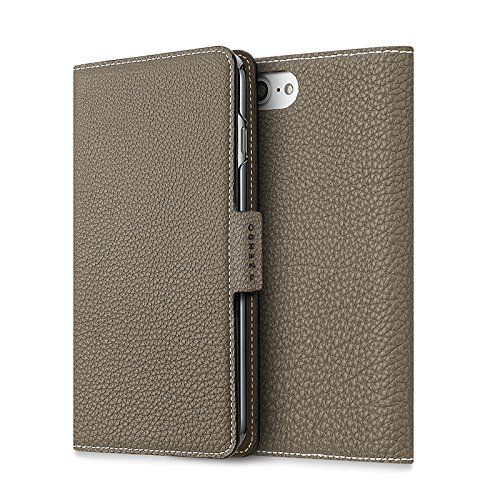 [HOLIDAY SALE 50%] ZENDO iPhone 7/8 Leather Flip Wallet Cover Case (Perlinger Full-Grain Leather) with Magnet Lock [iPhone 7 | TAUPE] by Zendo