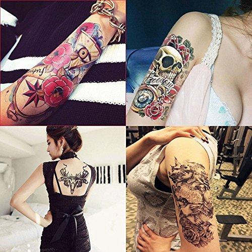 Dalin 4 Sheets Temporary Tattoos, Skull, Bull