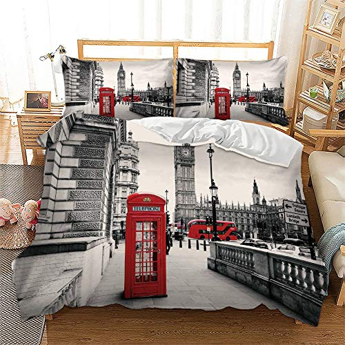 Feelyou Modern Duvet Cover Set Queen Size, Soft Famous London Themed Red Grey Comforter Cover Set 3 Pieces Bedding Set with 2 Pillow Shams, Zipper, Decorative Retro Telephone Booth The Big Ben