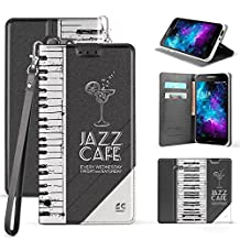 Trishield Gear Alcatel A30 Case, Slim Dual Layer Hybrid Synthetic Leather Magnetic Closure Flip Wallet Cover With Built in kickstand Card Slot Detachable Wrist Strap Piano Keyboard - Jazz