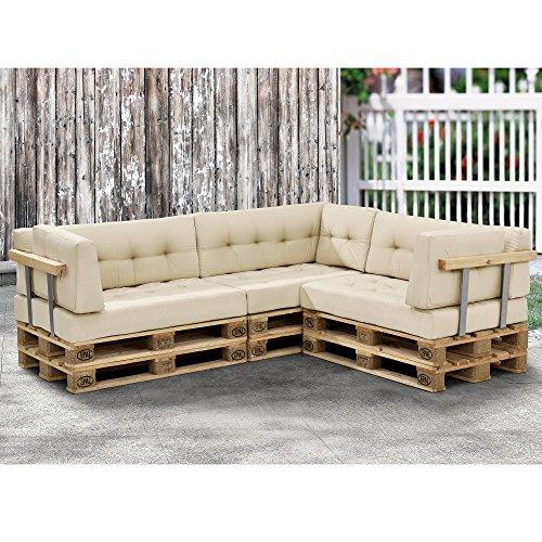 [en.casa]®] 1x cojín de Asiento para sofá de palés [Beige] cojín de europalé tapizado para Interior/Exterior