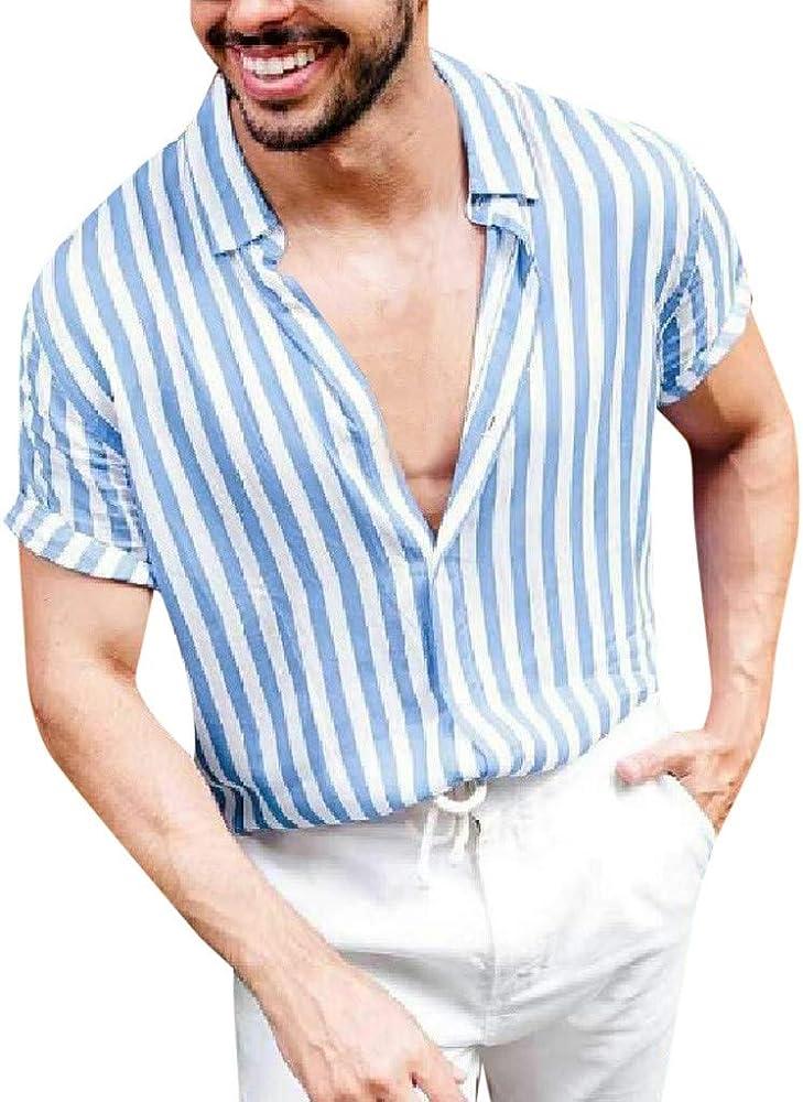 YGbuy-Hawaiana Señores Camisa De Rayas De Cuello En v Estampada De Gran Tamaño Camisetas Hombre Manga Corta: Amazon.es: Ropa y accesorios