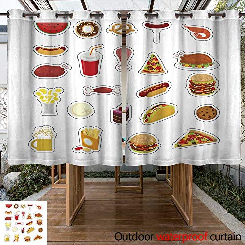 RenteriaDecor Outdoor Ultraviolet Protective Curtains Food Sticker Set Signs Meat Feed Icon Collection Pizza and Tacos French Fries and a Hamburger Hotdog and Cookies Baked t W96 x L72