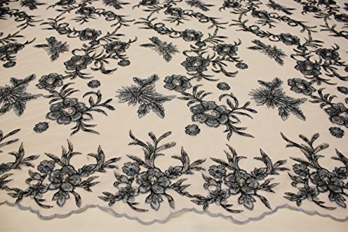 (Designer Embroidery Lace Floral Style Fabric Nude Background See Through Mesh (Charcoal))