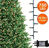 Christmas Tree Lights 750 LED 18.75m Warm White Indoor/Outdoor Christmas Lights Decorations Fairy String Lights Memory Timer Mains Powered 61ft Lit Length 10m/32ft Lead Wire Green Cable