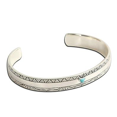 AnazoZ Bracelet Jonc Ethnique Turquoise Motifs Vintage Argent 925 Homme  Femme