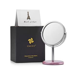 "OMIRO Office Decor Mirror, Mini Standing Mirror for Women Desk Decorations, 3""x 5.5""(Glitter Pink)"
