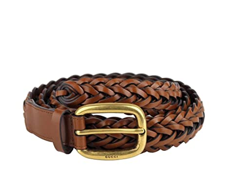 99e5e0331 Gucci Women's Braided Leather Belt with Gold Buckle 380606 2535 Brown ...