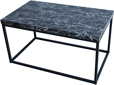 Roomfitters Marble Print Coffee Table Living Room Bedroom Essentials Accent Rectangular Cocktail Table, Black