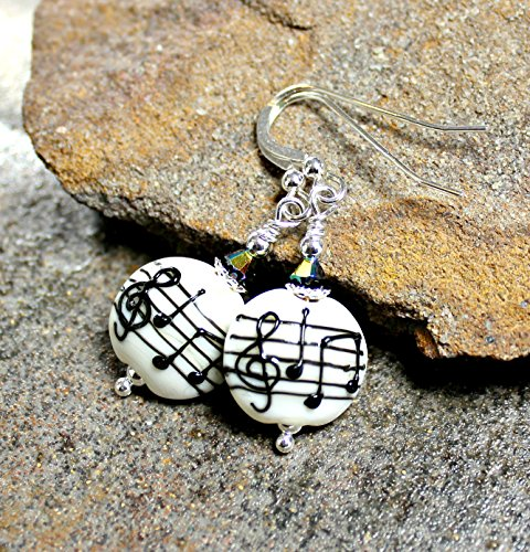 Musical Notes Art Glass Lampwork Earrings Sterling Silver