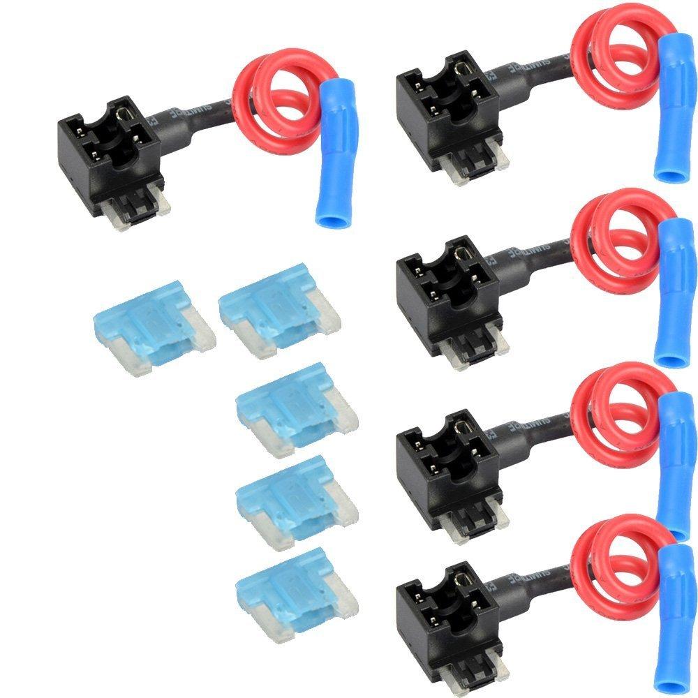 E Support™ 5 X fusible de voiture 12V 24V ajouter un circuit piggy fusible du robinet de retour porte-lame style profile bas fusible 15A
