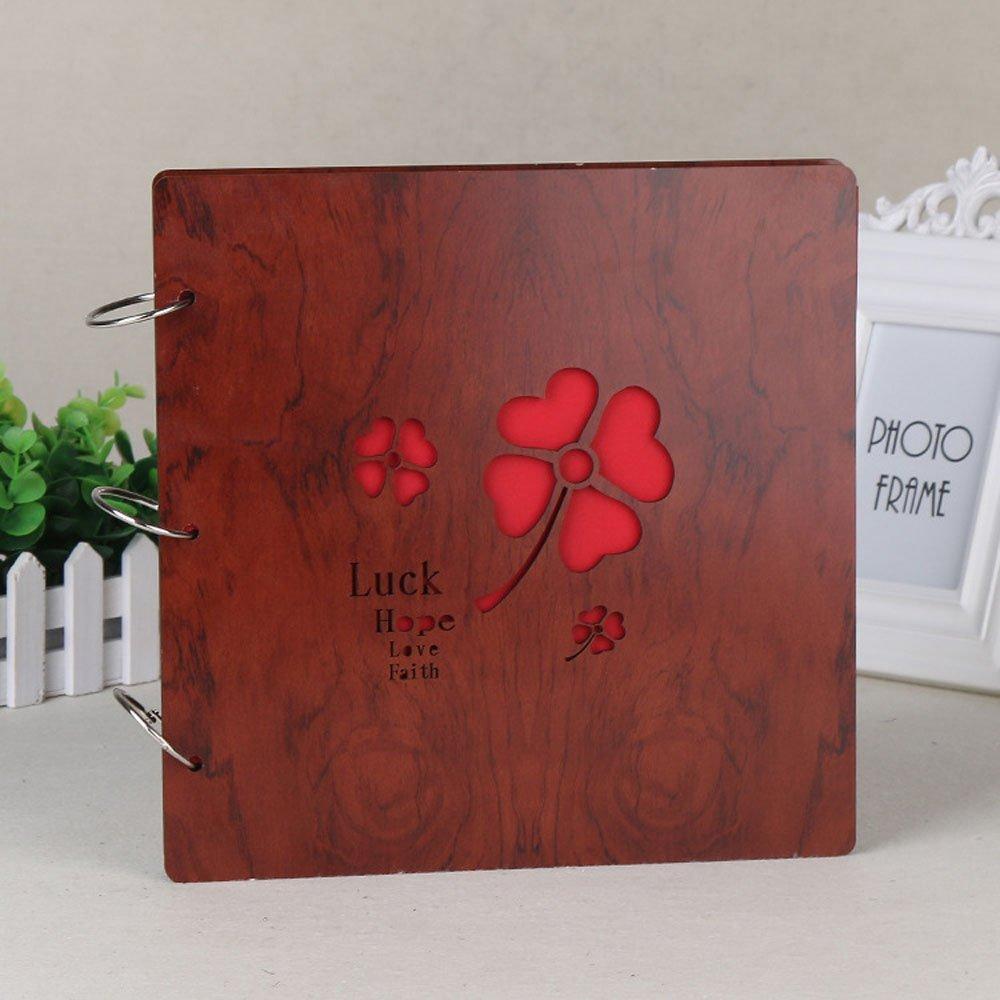 Longpro Creative DIY Photo Album Loose-Leaf 10 Inch Rosewood Photo Album Anniversary Scrapbook (Luck Hope)
