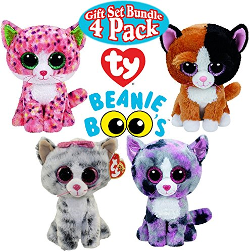 3 Tone Plush Stocking (TY Beanie Boos Cat Gift Set Bundle Featuring Sophie, Lindi, Kiki & Tauri - 4 Pack)