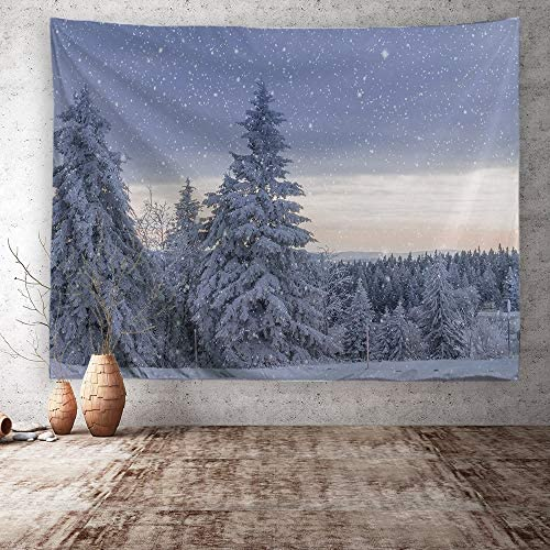 ORTIGIA Forest Tapestry Wall Hanging Winter Snow Landscape Pine Forest Tpestry Nature Art Tapestry Tree Tapestry Polyester Fabric Tapestry for Living Room Bedroom Dorm-90 Wx71 L Needles Included