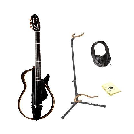 Una cuerda de nailon Yamaha SLG200 N Silent guitarra con Ultra 2445bk Basic – Soporte para