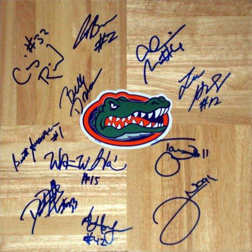 06 Final Four (2005-06 Florida Gators Final Four Team and Billy Donovan Autographed 1'x1' Parquet Floor - 11 Signatures)