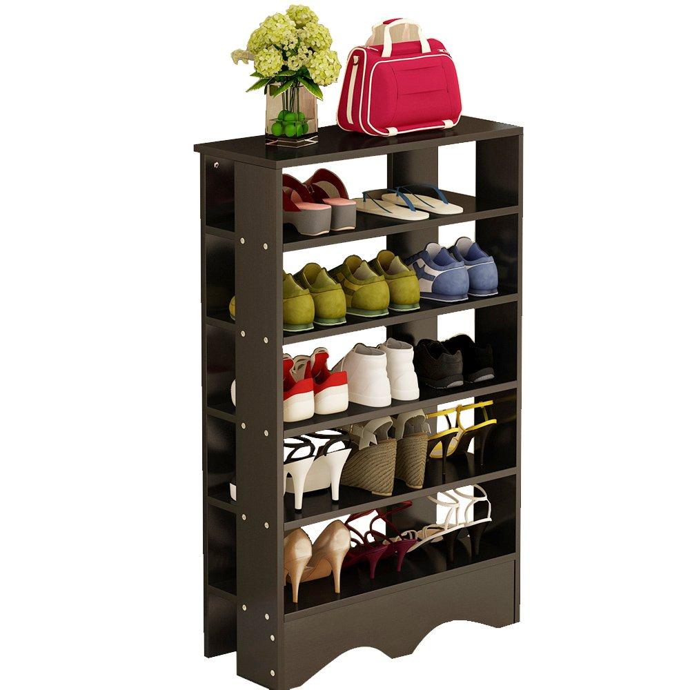DlandHome Shoe Racks 5 Tiers Multi-Function Economy Storage Rack Wood Shelf Organizer, L15-B Black, 1 Pack