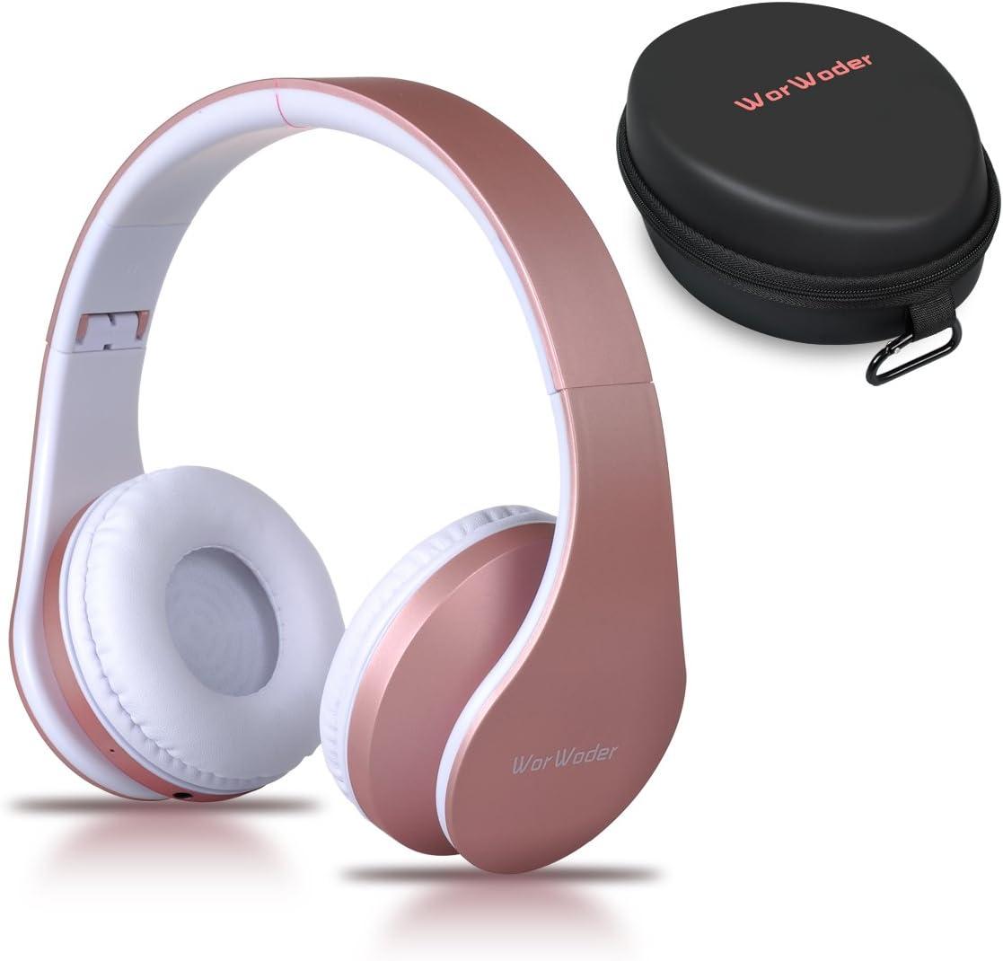 Auriculares Bluetooth Inalámbricos, WorWoder Cascos Bluetooth con Micrófono Hi-Fi Sonido Estéreo Auriculares de Diadema Plegables con Orejeras Suaves para TV, PC, Tablet, Móvil - Rosa de Or