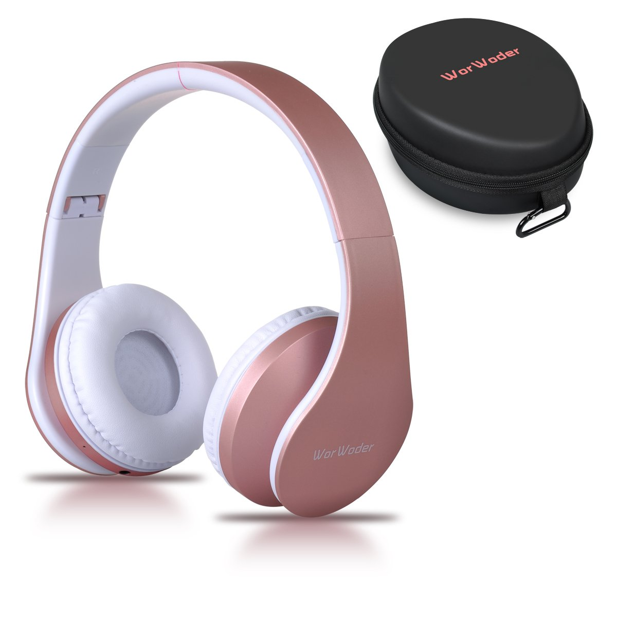 WorWoder Bluetooth Headphones Over Ear, Wireless Foldable Hi-Fi Stereo Headset and Wired Headphones 4 in 1 with Micro Support SD/TF Card for Travel Cell Phones Samsung(Rose Gold)