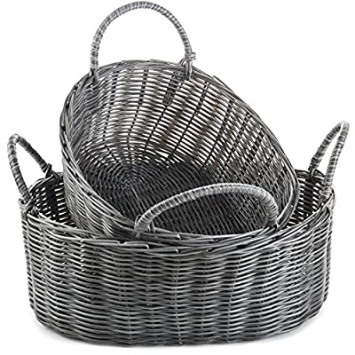 MyGift Handmade Rustic-Style Woven Nesting Storage Baskets with Handles, Set of 2 - NESTING BASKET SET: Two rustic grey nesting baskets fit perfectly into one another when not in use, and create extra storage when separated. STORAGE & ORGANIZATION: Easily organize any space in your kitchen, living room, bedroom, playroom or office. DOUBLE HANDLES: Two handles on each basket allow for portability, bringing baskets from room to room or while cleaning up its contents. - living-room-decor, living-room, baskets-storage - 611 CqyW6GL. SS400  -
