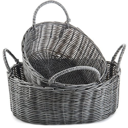 MyGift Rustic-Style Woven Nesting Storage Baskets with Handles, Set of 2