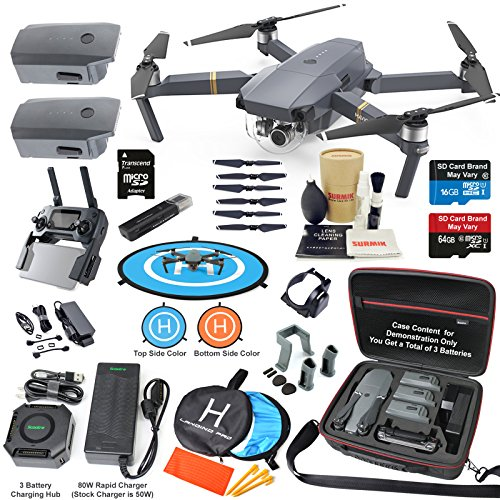 DJI Mavic PRO Drone Quadcopter Elite Combo with 3 Batteries, 4K Professional Camera Gimbal Bundle Kit with 80W Rapid Charger, Charging Hub, Carrying Case and MUST HAVE Accessories