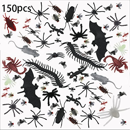 150 Pieces Plastic Realistic Bugs for Halloween Decorations - Bug Toys with Fake Spider, Cockroaches, Bat and Other Plastic Fake Bugs That Look Real -