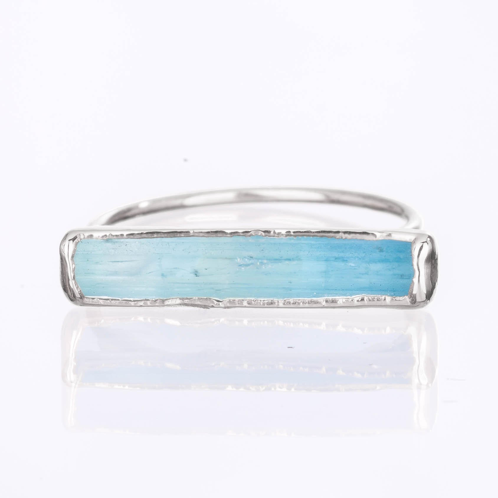 Size 8 Raw Aquamarine Ring, Sterling Silver, March Birthstone Jewelry