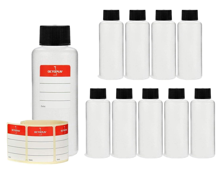 bottiglie di plastica 10x 100ml, bottiglie di plastica rotonde di HDPE, vuote, diametro della filettatura 25mm, 10 pezzi con tappo Octopus Concept GmbH