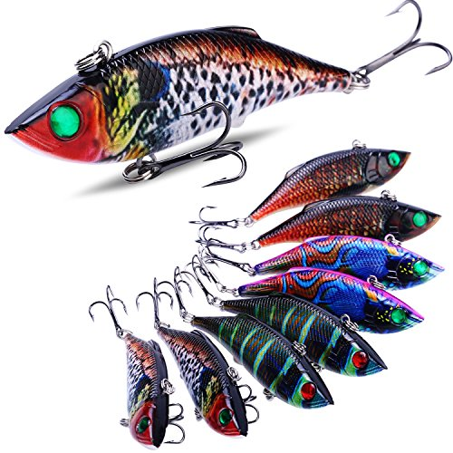 Sougayilang Fishing Lure - ABS Hard Plastic Topwater Minnow Lure with Steel Ball Inside, Super Realistic Color, VMC Hooks, 3D Eyes for Carp Bass Salmon Trout Pike Fishing