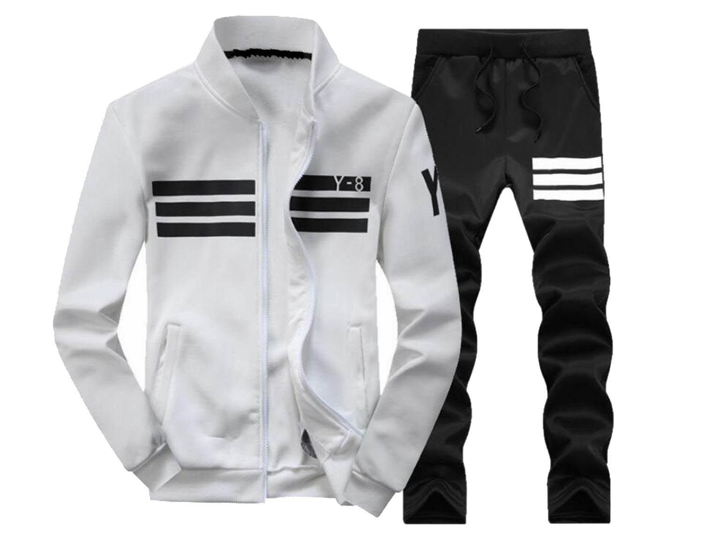 ZAWAPEMIA Mens 2 Piece Sport Jacket Pants Slim Fit Track Suit