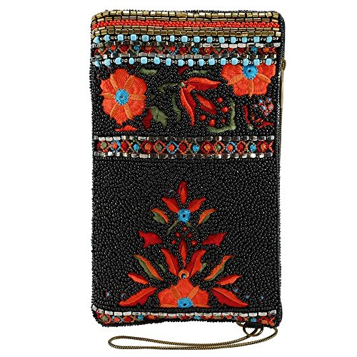MARY FRANCES Viva La Noche Beaded-Embroidered Floral Pattern Crossbody Phone Bag