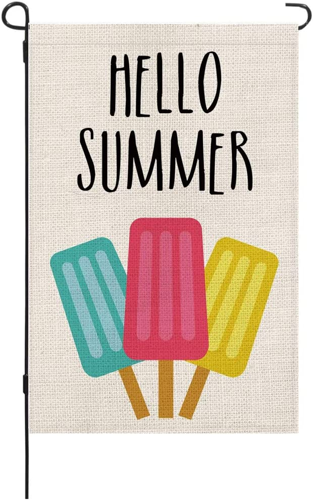 Hello Summer Garden Flag,Burlap Double Sided Banner Yard, Watercolor Blue Red Yellow Ice Flag, Outdoor Decoration 12.5 x 18 Inch