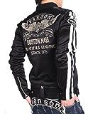 【当店別注】(バンソン) VANSON ライダース フライングエンブレム 刺繍&ワッペン ボンディング ライダース ジャケット JFV-802-BLACK