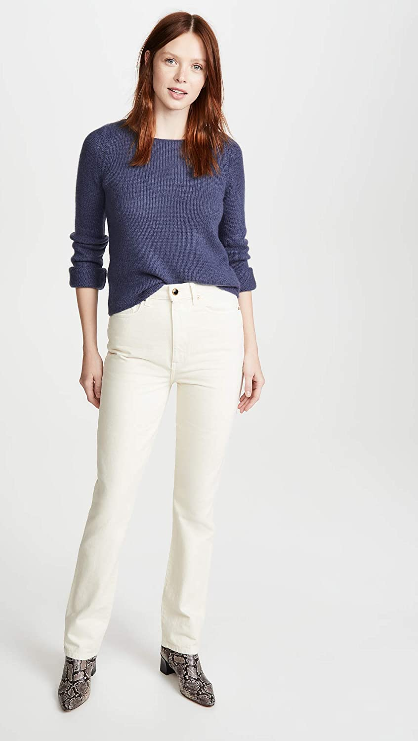 Vince Womens Off Gauge Cashmere Boat Neck Sweater