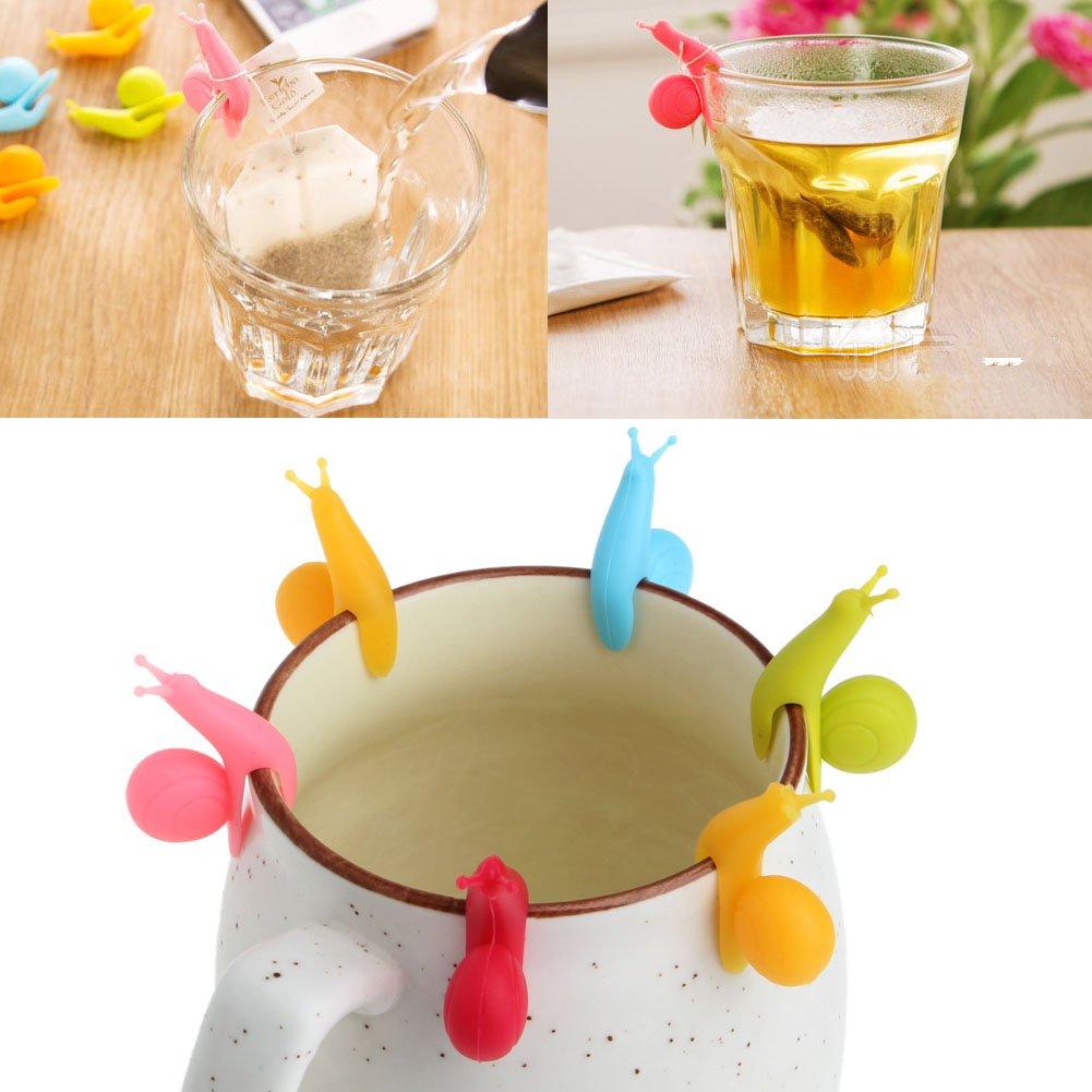 BCHZ 6pcs Silicone Glass Markers Snail Wineglass Label for Hanging Tea Bag Tea Bag Clip
