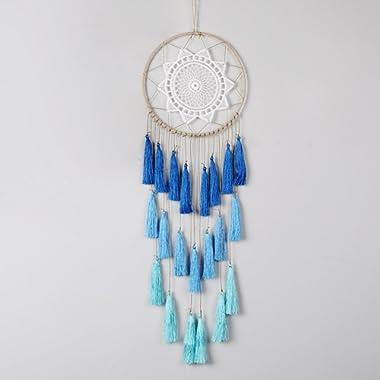 Artilady 8inch Handmade Tassel Dream Catcher Wall Decoration (Blue)