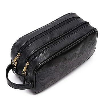 a7cf9f54f00b Amazon.com   PU Leather Toiletry Bag for Men Women Cosmetic Travel  Organizer Bag Dopp Kit(2 Layer Black)   Beauty