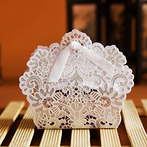 PONATIA 50 PCS Laser Cut With Ribbon Wedding Party Favor, We