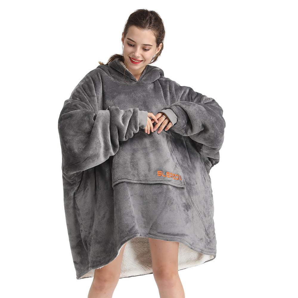 SLEPZON Oversized Sweatshirt Blanket, Sherpa Hoodie Blanket for Adults Men and Women, Wearable Throw Blanket with Sleeves and Pockets, Grey by SLEPZON