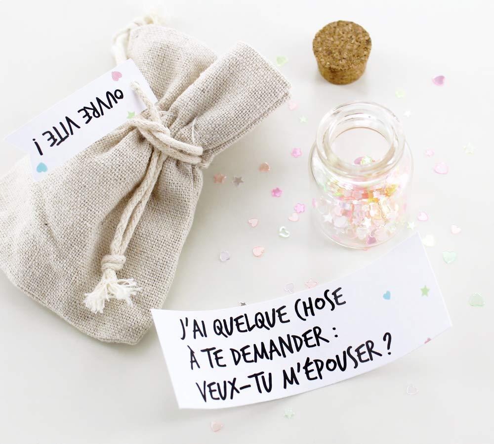 Fiole pour annonce grossesse, demande de témoin, demande de parrain/marraine - petite bouteille en verre avec message surprise