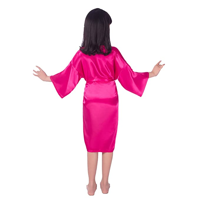 Zhien Bata de Satén para Niñas Kimono Bata de Satén para Niñas para Dormir Rose 8/5-7Y: Amazon.es: Ropa y accesorios