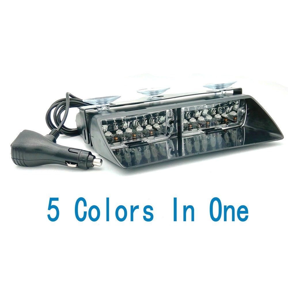 Heinmo 24W 5 Colors In 1 Windshield Led Strobe Light Viper Car Flash Signal Emergency Fireman Police Warning Light