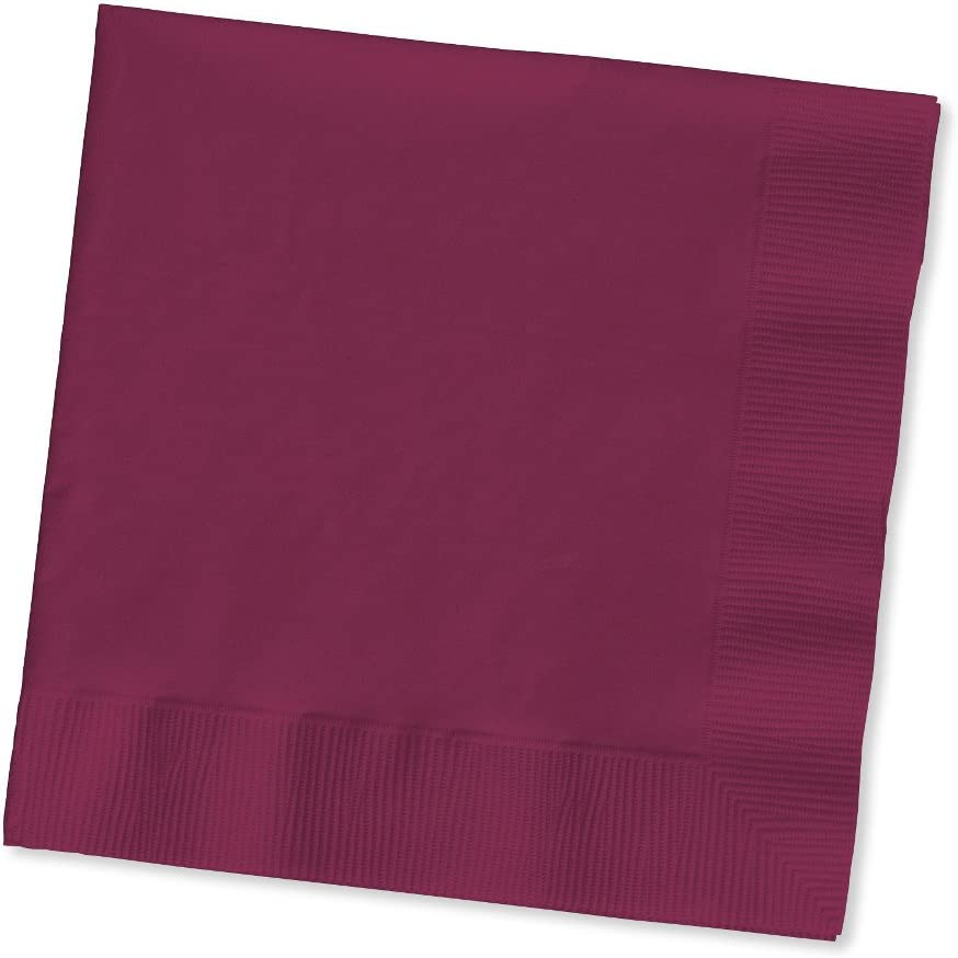 Creative Converting Burgundy Red Paper 2 Ply Beverage Napkins