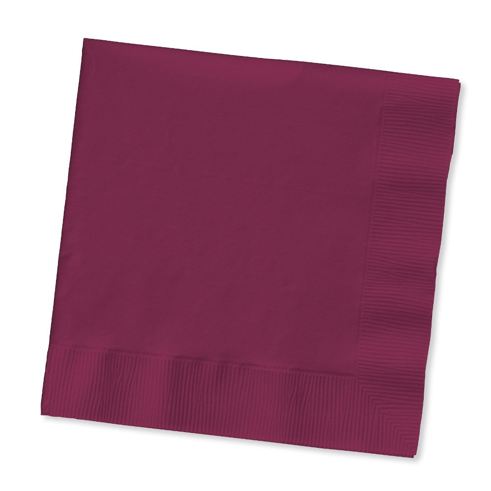 Creative Converting Touch of Color 200 Count 2-Ply Paper Beverage Napkins, Burgundy 253122