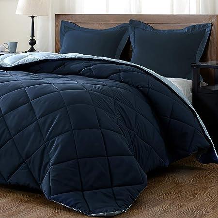 3-Piece New Linen Plus Collection Down Alternative Reversible Comforter Set