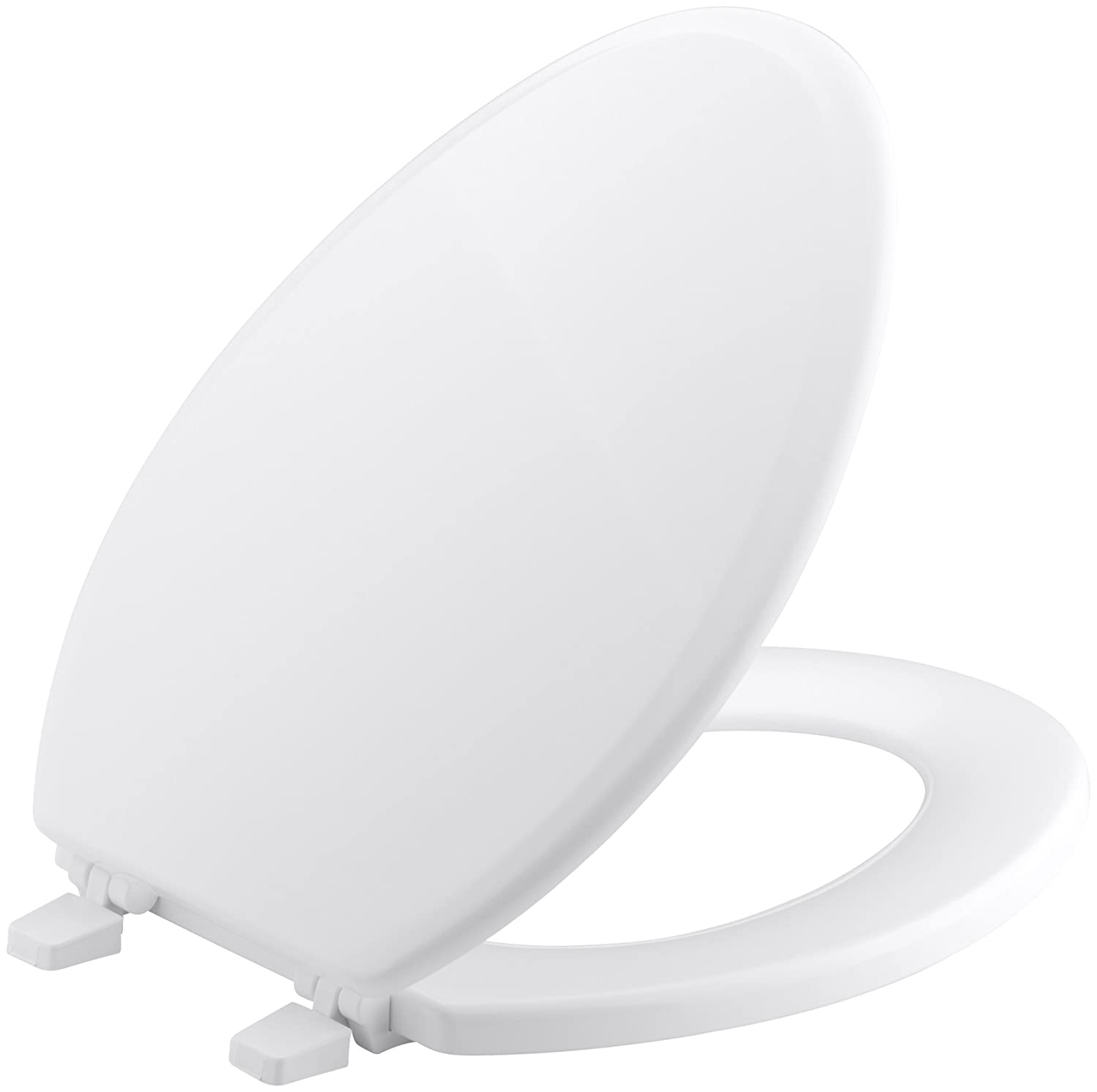 KOHLER K-4694-0 Ridgewood Molded-Wood with Color-Matched Plastic Hinges Elongated Toilet Seat, White