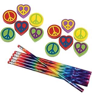 and Notebooks toyco Erasers Pencils Nikkis Knick Knacks 36 Piece Tie Dye Hippie Stationary Set